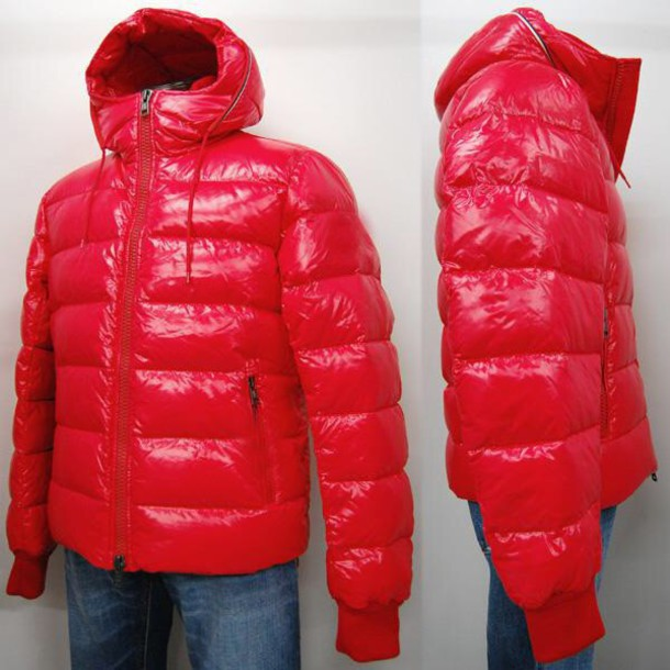 coat, red coat, red jacket, glossy, puffy, down jacket, bubble