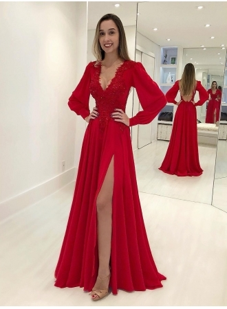 Sexy V-Neck Long Sleeves Red Evening Gown   Front Split Lace