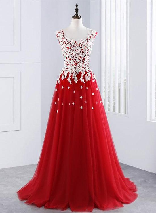 Red lace tulle long prom dresses,red evening by prom dresses on Zibbet