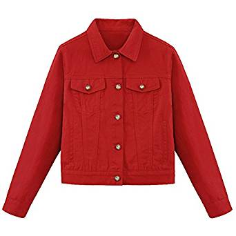 ShengTu Women's Red Jean Jacket Long Sleeve Denim Coat at Amazon