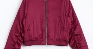 46% OFF] 2019 Puffer Zip Up Bomber Jacket In RED L | ZAFUL