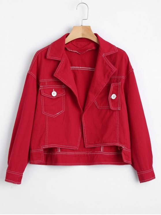 35% OFF] 2019 Open Front High Low Denim Jacket In RED XL | ZAFUL