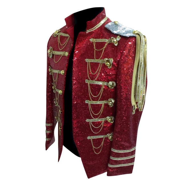 Red Sequin Mens Stage Jackets Bomber Men Costume Jacket Manteau