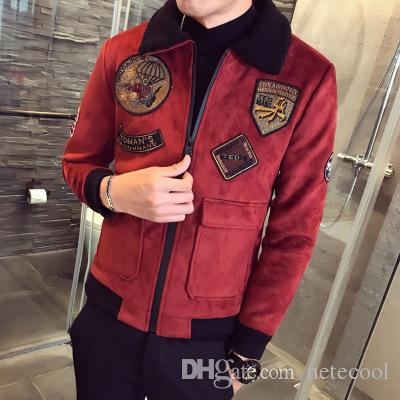 Red Bomber Jackets Mens Pilot Jackets Mens Jackets And Coat Mens Fur