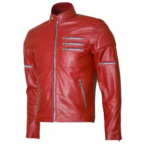 Biker Red Suede Leather Motorcycle Jacket For Men