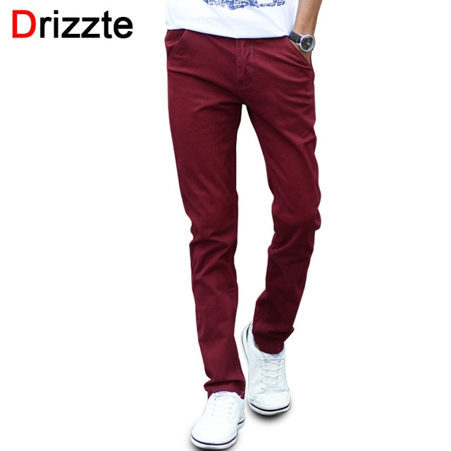 Mens Fashion Stretch Slim Casual Dress Chino Pants Business Trousers