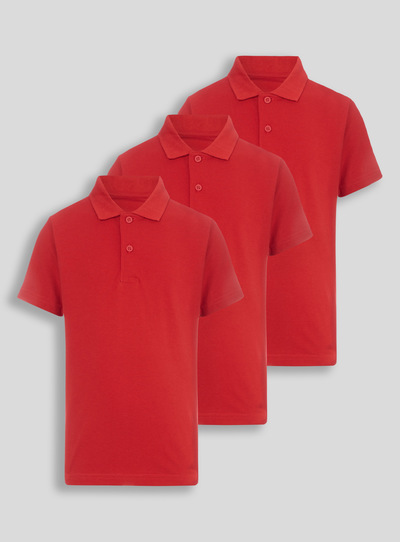 Kids Unisex Red Polo Shirts 3 Pack (3-12 years) | Tu clothing