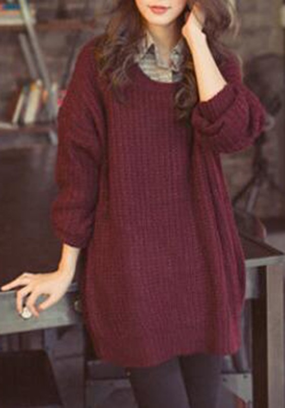 Wine Red Oversized Knitted Batwing Sleeve Batwing Sleeve Pullover