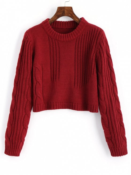 57% OFF] 2019 Cable Knit Panel Pullover Cropped Sweater In WINE RED