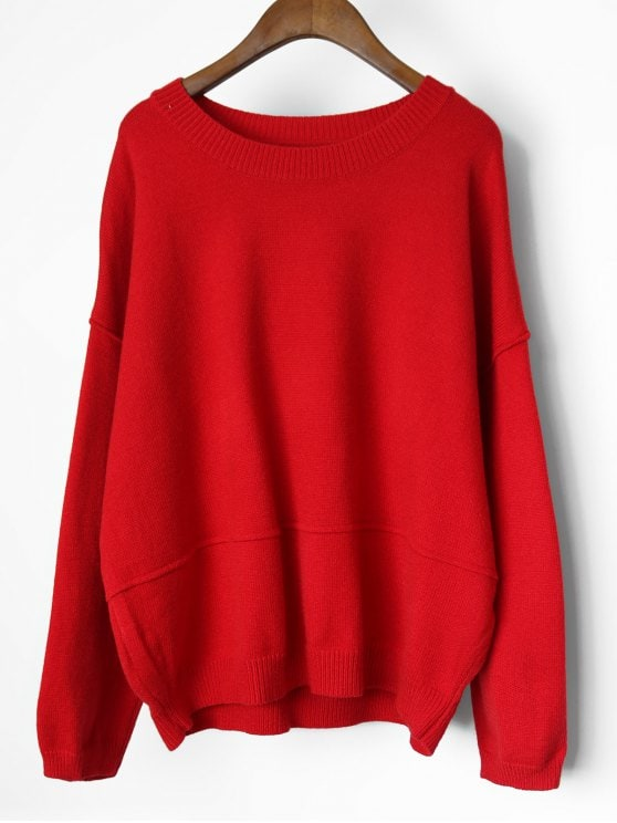 30% OFF] 2019 Drop Shoulder Oversized Pullover Sweater In RED ONE