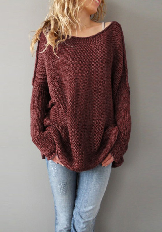 Wine Red Plain Round Neck Long Sleeve Pullover Sweater - Pullovers