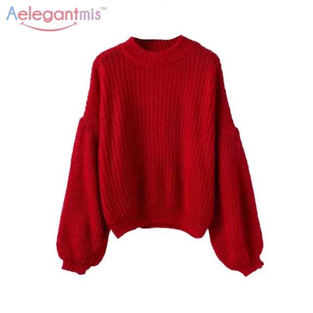 Aelegantmis Loose Knitting Red Sweater Women Knitted Pullovers Puff