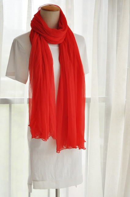 FREE SHIPPING Big red fold long 100% silk scarves red scarf silk