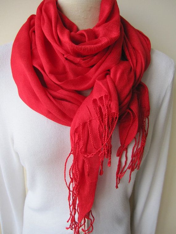 Solid plain red scarf,pomegranate RED scarf viscose lightweight