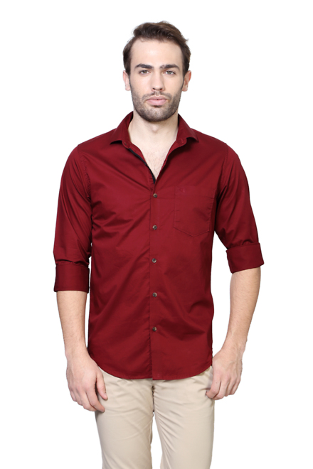 Peter England Casuals Shirts, Peter England Red Shirt for Men at