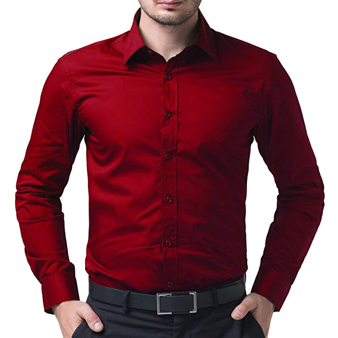 BEING FAB Men's Solid 100% Cotton Regular Fit Casual Red Shirt