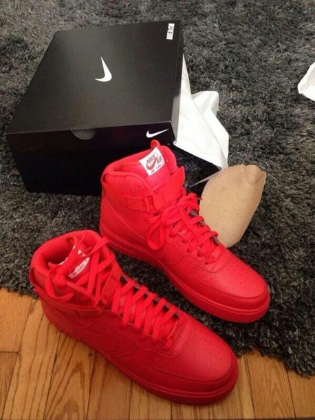 shoes, nike sneakers, nike, nike air force 1, all red nike airforces