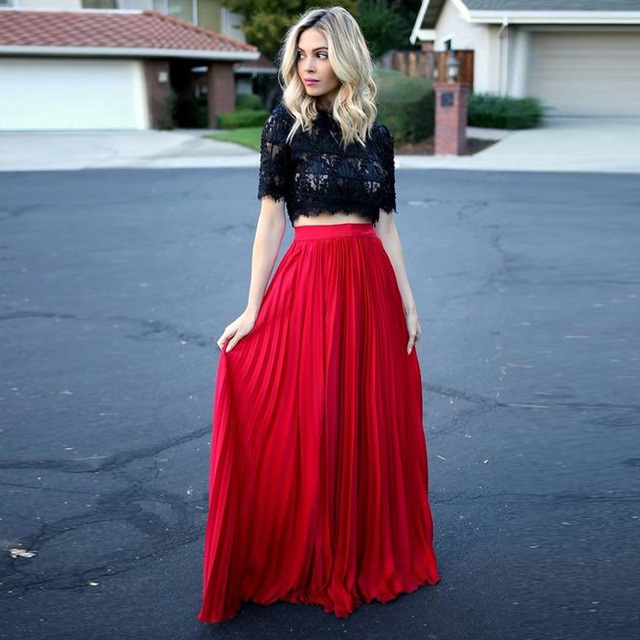 England Style Red Pleated Long Skirts For Pretty Women Floor Length