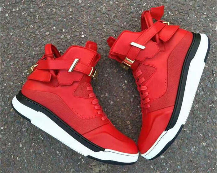 Buscemi High Top Red Sneakers Leather Shoes with Lock Strap,Sneakers
