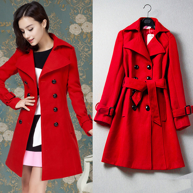 woman long maxi coats 2015 winter vintage style double breasted coat