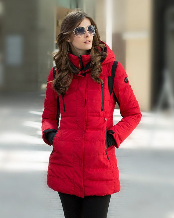 38a616ee2ac Womens Winter Hooded Red Quilted Duck Down Coat Puffer Jacket Warm