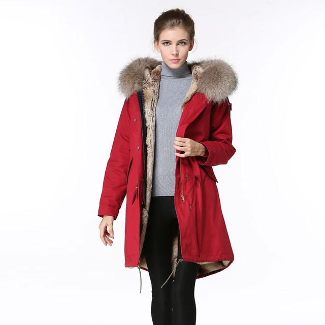 Long Red Parka Fashion Winter Wear,Natural Raccoon Fur Hoodies With