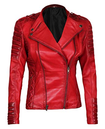 Womens Red Leather Jacket - Lambskin Leather Jackets for Women at