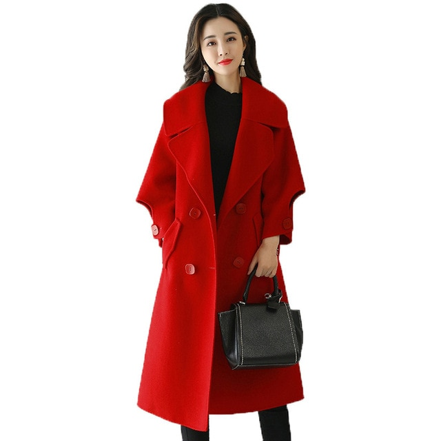 Red Women Wool Coat Double Breasted Fashion Long Parka Overcoat New