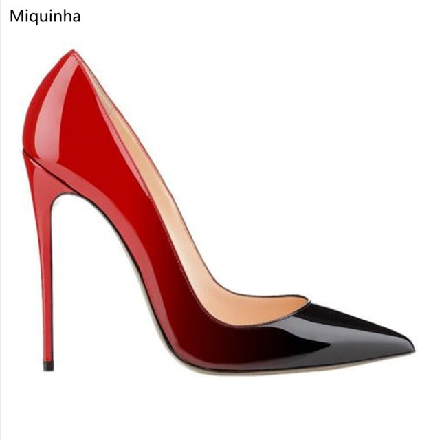 Red Black Degrade Patent Leather High Heels Pointy Toe Classic