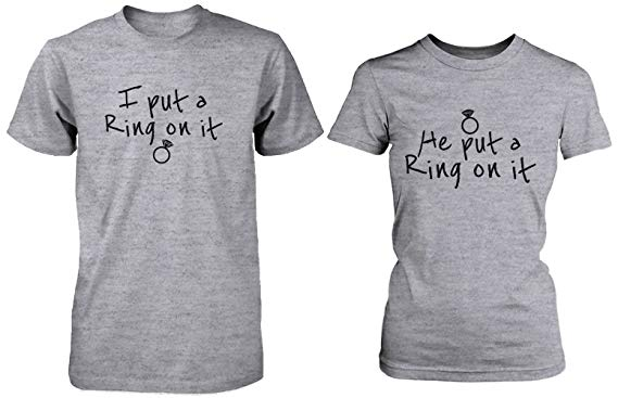 Ring On It Couple Tee His and Hers Wedding Shirts Engagement