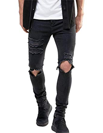 Men's Stretch Skinny Ripped Jeans With Knees Rips Distressing In