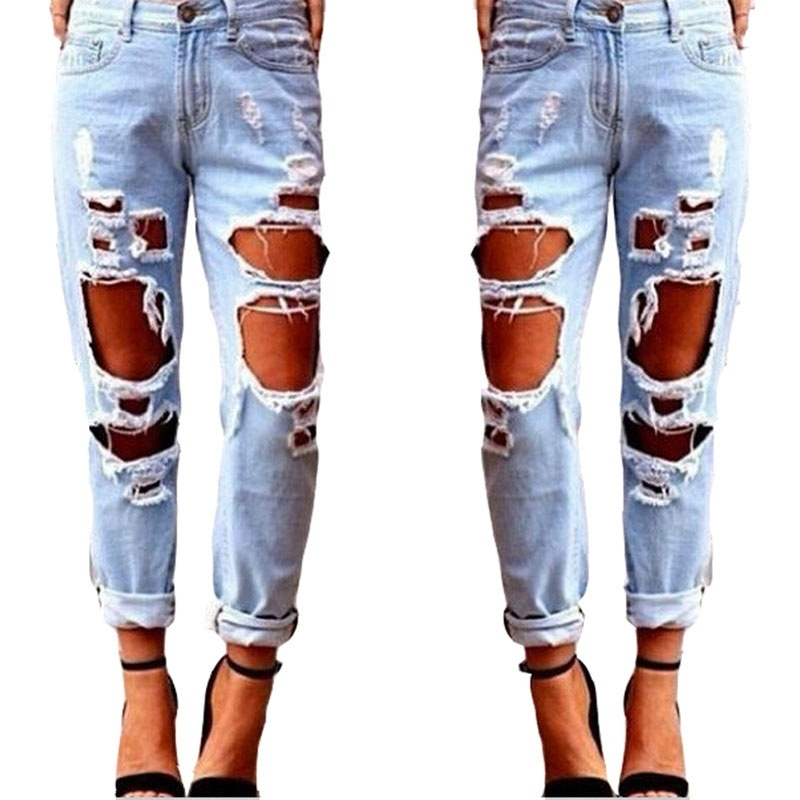 Vista - New Fashion Ripped Jeans Femme Casual Washed Holes Boyfriend