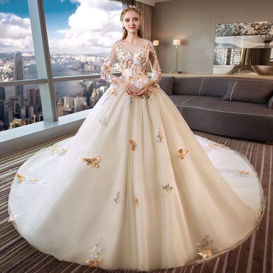 Romantic Ivory See-through Wedding Dresses 2019 Ball Gown Scoop