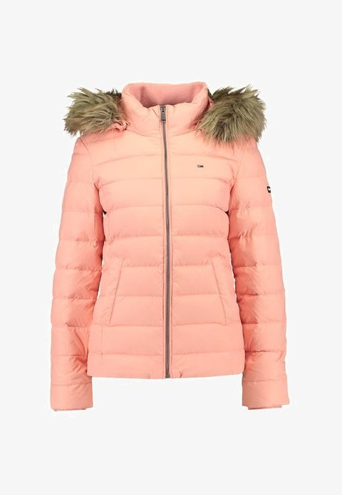 women Tommy Jeans ESSENTIAL HOODED - Down jacket - coral almond/rosa