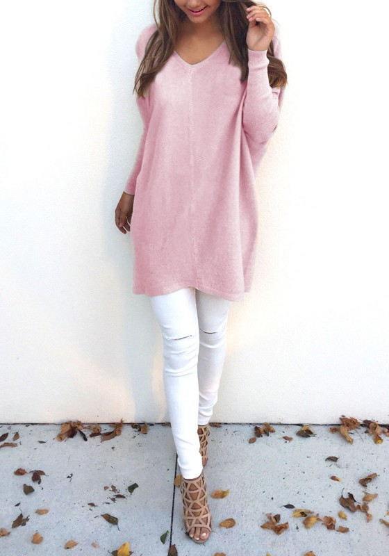 Pink Plain V-neck Long Sleeve Fashion Pullover Sweater - Pullovers