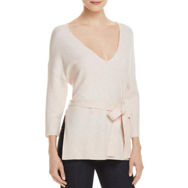 French Connection Womens Rosa Pink V-neck Tunic Pullover Sweater Top