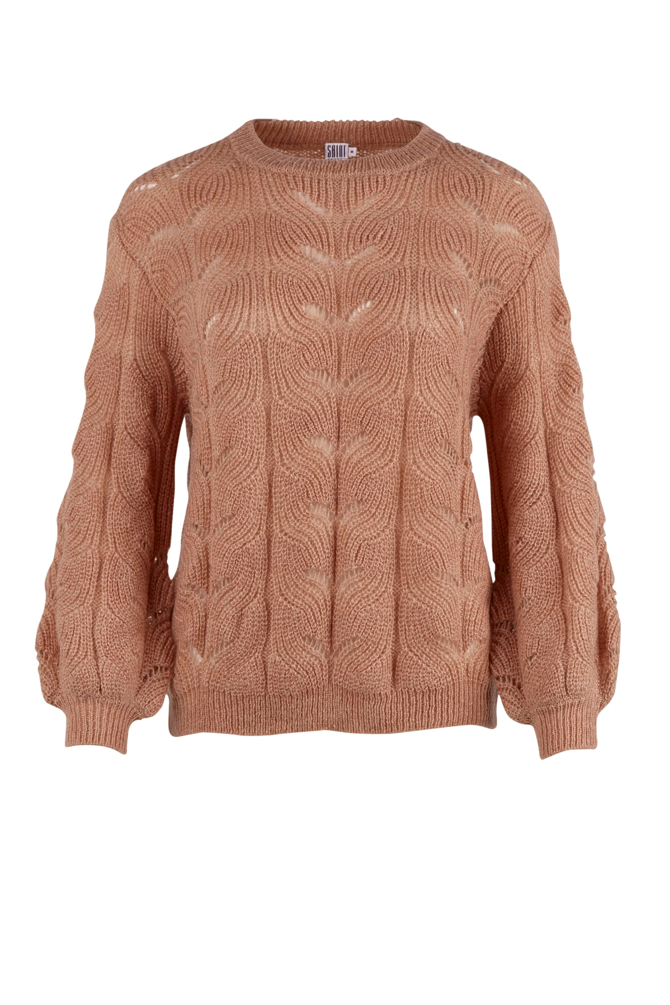 KNIT BLOUSE WITH POINTELLE | Rose - XL