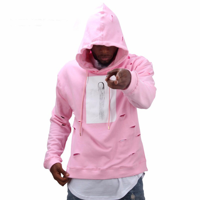 hot sale mens hip hop pink hoodies sweatshirts men with the hole