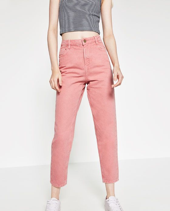 Image 4 of MOM-FIT TROUSERS from Zara | color block | Pinterest