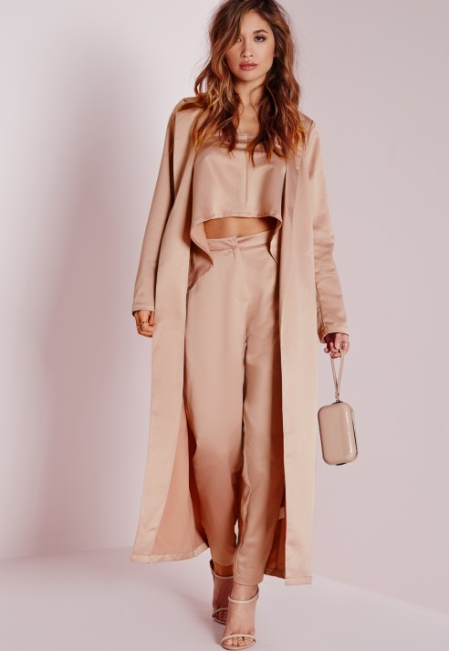 Lyst - Missguided Silky Cigarette Trousers Rose Pink in Pink
