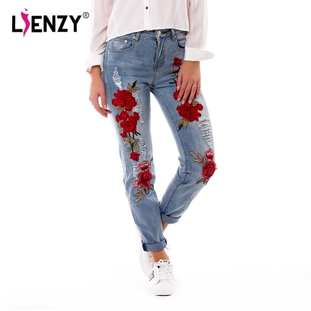 LIENZY Summer Red Rose Embroidered Jeans For Women High Elastic