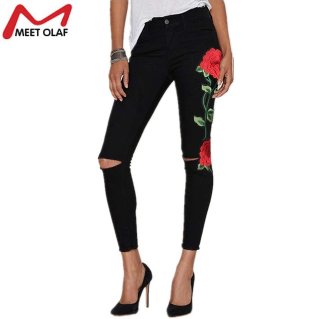 2017 Ripped Jeans For Women Rose Embroidery Skinny Long Denim Pencil