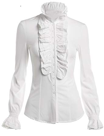 Mosocow Women's Vintage Victorian Ruffle Long Sleeve Shirt Blouse