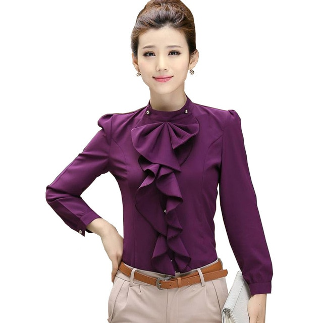 New Sale Women's Clothing Femme Long Sleeve Frill Ruffle Blouse