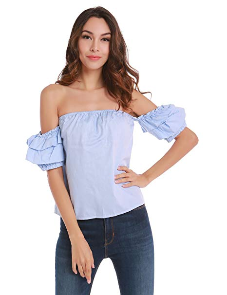 Women's Off The Shoulder Ruffle Blouse Tops Shirt, Large, Blue at
