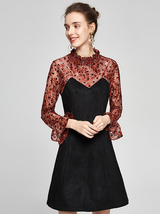 Stylewe Formal Dresses Long Sleeve Ruffled Dresses Daily A-Line