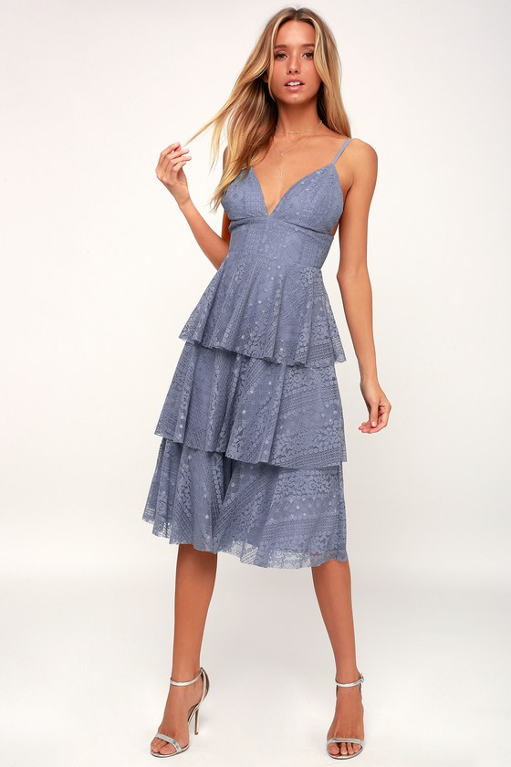 Cute Light Blue Dress - Lace Dress - Midi Dress - Ruffled Dress