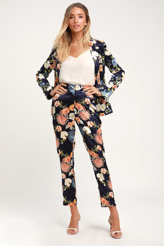 Chic Navy Blue Floral Print Trousers - Satin Trousers - Blue Pant