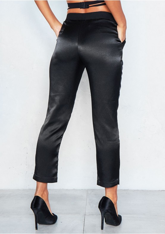 Luanne Black Elasticated Waist Satin Trousers Missy Empire