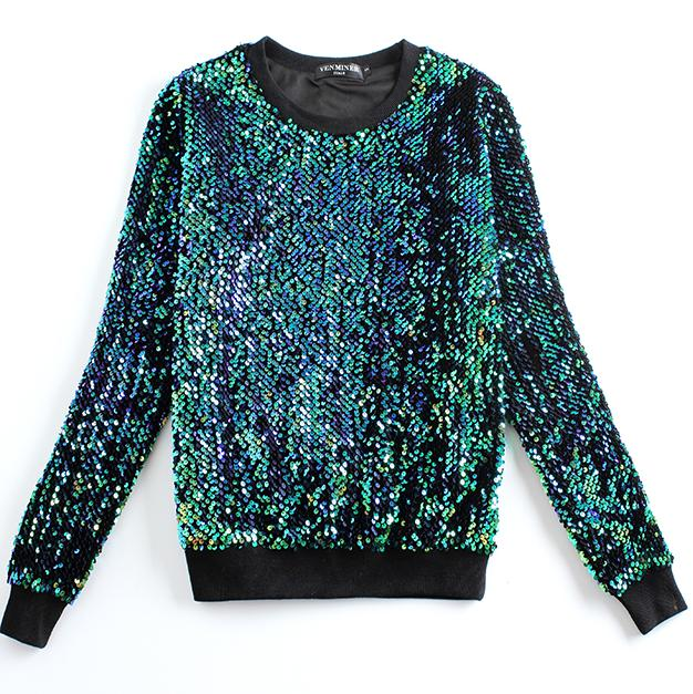 New Fashion women Hoodies Round neck brand Sequined beading gold